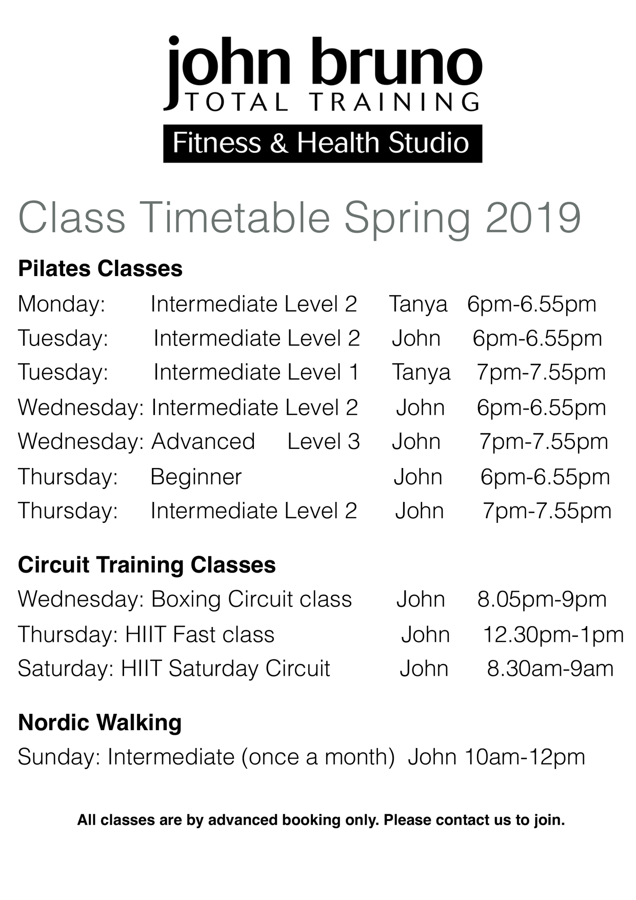 timetable perosnal training